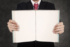 Close-up businessman hold blank book Royalty Free Stock Photo