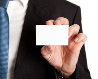 Close-up of businessman holding blank card Royalty Free Stock Photos