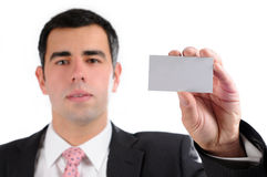 Close up businessman holding business card Stock Images