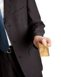 Close-up of businessman holding credit card Royalty Free Stock Photo