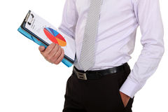Businessman holding pie-chart. Close-up of businessman holding pie-chart Royalty Free Stock Photo