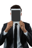 Close up of businessman holding tablet computer Royalty Free Stock Photo
