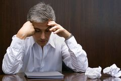 Close-up of a businessman looking depressed Royalty Free Stock Images