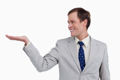 Close up of businessman looking at his palm Royalty Free Stock Image