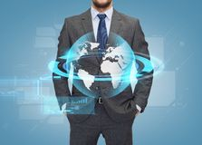 Close up of businessman over blue background Stock Photography