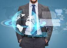 Close up of businessman over blue background Stock Images