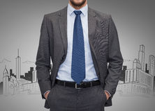 Close up of businessman over gray background Stock Photography