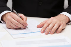 Close up of businessman with papers royalty free stock images