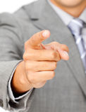 Close-up of a businessman pointing at the camera Stock Photography