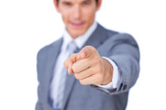 Close-up of a businessman pointing at the camera Royalty Free Stock Images