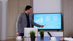 Close up of businessman presenting data on big screen TV