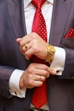 Businessman. Close up of businessman with red tie and golden watch Stock Images