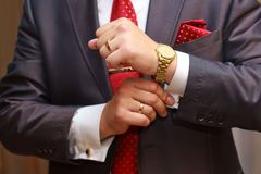 Businessman. Close up of businessman with red tie and golden watch Stock Photography
