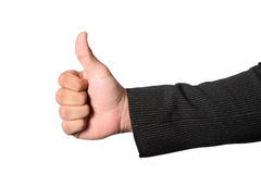 Businessman`s hand showing thumb up sign  clipping path. Close up of businessman`s hand showing thumb up sign  on white background, clipping path Stock Images
