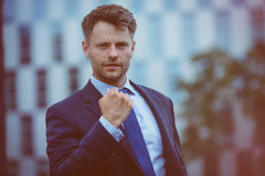 Close up of businessman showing fist Royalty Free Stock Image