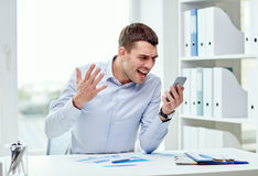 Close up of businessman with smartphone Royalty Free Stock Photography