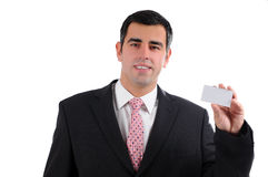 Close up businessman smiling holding business card Royalty Free Stock Photo