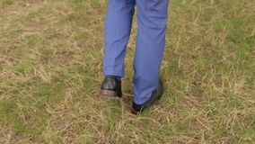 Close-up of a businessman in a suit and brown leather shoes is on the grass. Close-up view of brown business shoes in green grass stock video footage