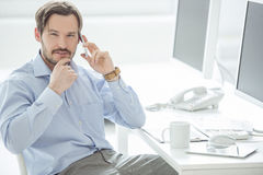 Close up of businessman talking mobile phone Stock Photography