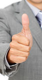 Close-up of a businessman with thumb up Royalty Free Stock Photos