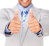Close-up of a businessman with thumbs up Royalty Free Stock Image