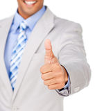 Close up of a businessman with thumbs up Royalty Free Stock Photography