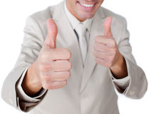 Close-up of a businessman with thumbs up Stock Photography