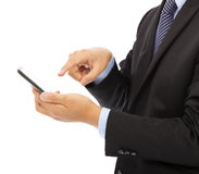 Close up of businessman touch smart phone Stock Photo