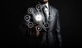 Close up of businessman touching icon of media screen. Communication map Stock Photos