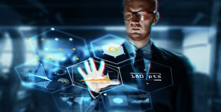 Close up of businessman touching virtual screen. Business, augmented reality, technology and cyberspace concept - close up of businessman in suit working with Royalty Free Stock Photos