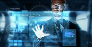 Close up of businessman touching virtual screen. Business, augmented reality, technology and cyberspace concept - close up of businessman in suit working with Royalty Free Stock Photography