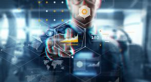 Close up of businessman touching virtual screen. Business, augmented reality, technology and cyberspace concept - close up of businessman in suit working with Stock Images