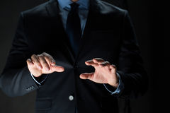 Close up of businessman touching virtual screen Royalty Free Stock Photography