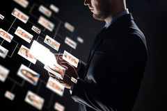 Close up of businessman with transparent tablet pc Stock Photography
