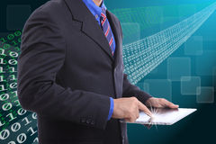 Close up businessman use touch pad Stock Photo