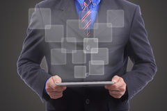 Close up businessman use touch pad Stock Image