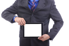 Close up businessman use touch pad Royalty Free Stock Image