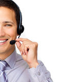 Close-up of a businessman using headset Royalty Free Stock Images