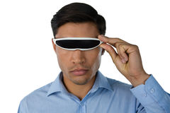 Close up of businessman using smart glasses Royalty Free Stock Images