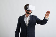 Close up of businessman in virtual reality glasses Royalty Free Stock Photos