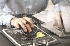 close up of businessman working with smart phone and digital tab Royalty Free Stock Image