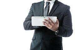 Close up of businessman working with a touchpad Royalty Free Stock Photo