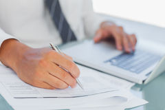 Close up on businessmans hands working Royalty Free Stock Photo
