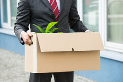 Close-up Of Businessperson Holding Cardboard. Close-up Of Unemployed Businessperson Carrying Cardboard Boxes Royalty Free Stock Photo