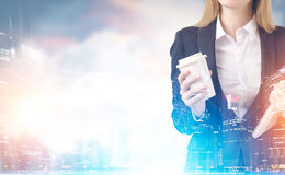 Close up of businesswoman with coffee in a city Stock Images