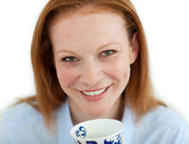 Close-up of a businesswoman drinking a cup of tea Royalty Free Stock Photo