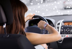 Close up of businesswoman driving car Stock Photos