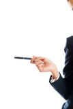 Close up on businesswoman hand holding a pen Royalty Free Stock Photography