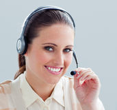 Close-up of a businesswoman with headset on Stock Image