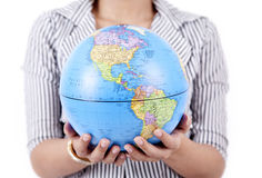 Close up of businesswoman holding a globe Stock Photos